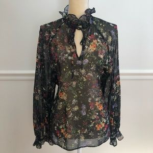 H&M sheer floral top. Ruffle / tie on neck. Large